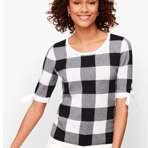 NWT Talbots Tie Sleeve Black/White Gingham Sweater